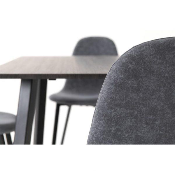 Berlin Black Wood Dining Set with 4 Dark Grey Chairs