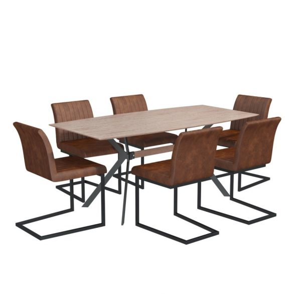 Industrial Dining Set with 6 Tan Faux Leather Chairs - Isaac